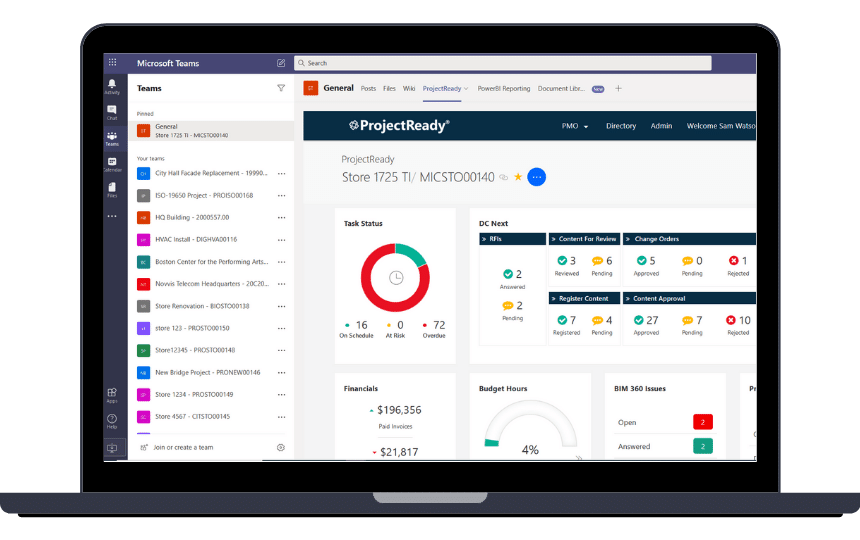 Website Screenshot - Microsoft Teams and ProjectReady